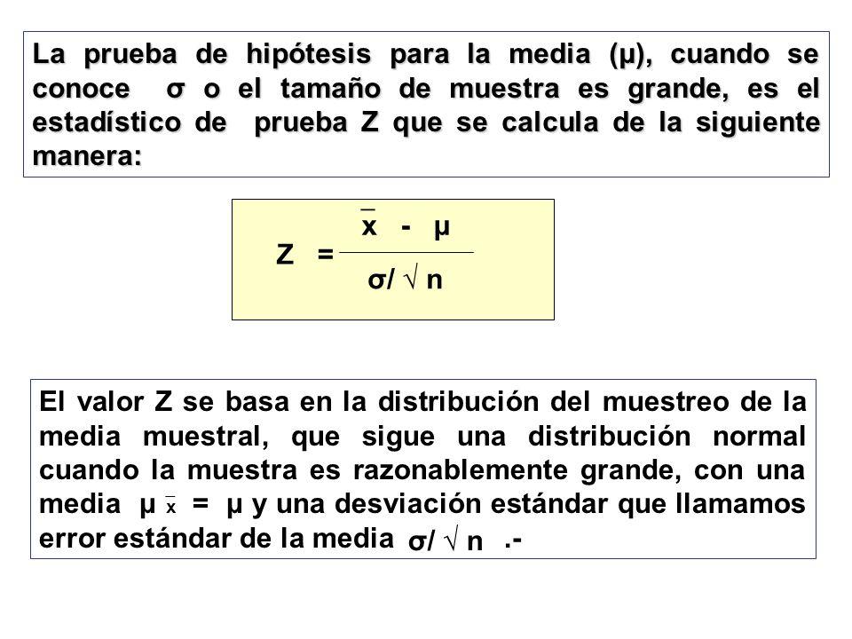 La prueba de hipótesis para la media (μ), cuando se conoce σ o el tamaño de muestra es grande, es el estadístico de prueba Z que se calcula de la sigu