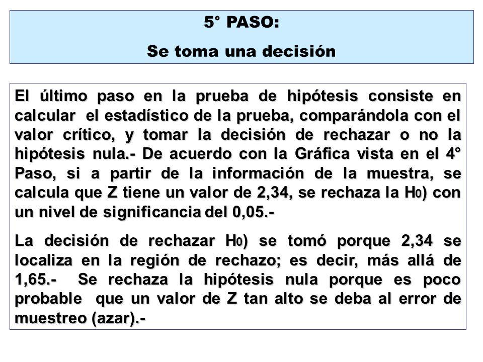 5° PASO: Se toma una decisión El último paso en la prueba de hipótesis consiste en calcular el estadístico de la prueba, comparándola con el valor crí