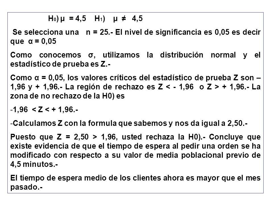 H 0 ) µ = 4,5 H 1 ) µ 4,5 Se selecciona una n = 25.- El nivel de significancia es 0,05 es decir que α = 0,05 Como conocemos σ, utilizamos la distribuc