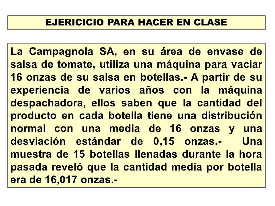 EJERICICIO PARA HACER EN CLASE La Campagnola SA, en su área de envase de salsa de tomate, utiliza una máquina para vaciar 16 onzas de su salsa en bote