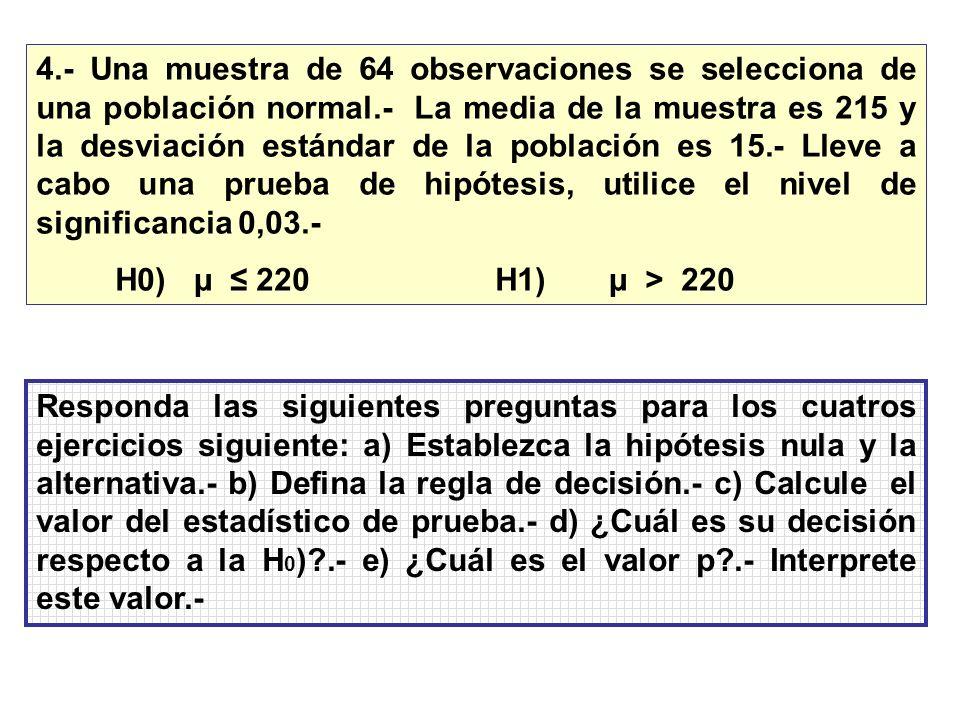 4.- Una muestra de 64 observaciones se selecciona de una población normal.- La media de la muestra es 215 y la desviación estándar de la población es