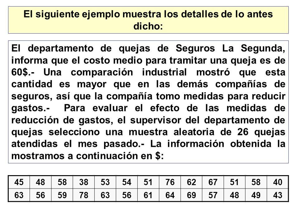 El siguiente ejemplo muestra los detalles de lo antes dicho: El departamento de quejas de Seguros La Segunda, informa que el costo medio para tramitar