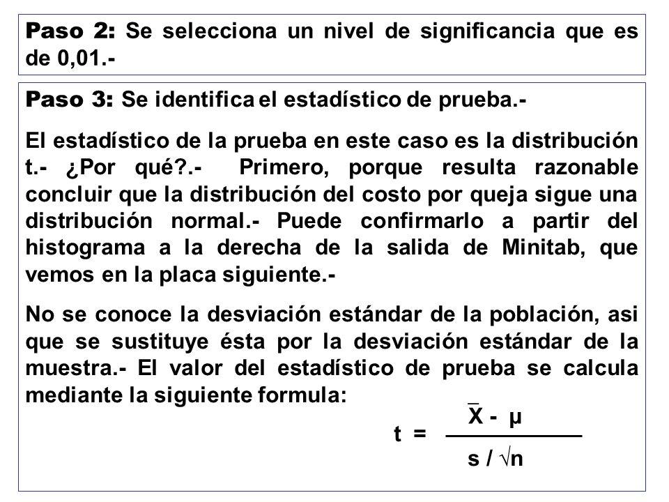Paso 2: Se selecciona un nivel de significancia que es de 0,01.- Paso 3: Se identifica el estadístico de prueba.- El estadístico de la prueba en este