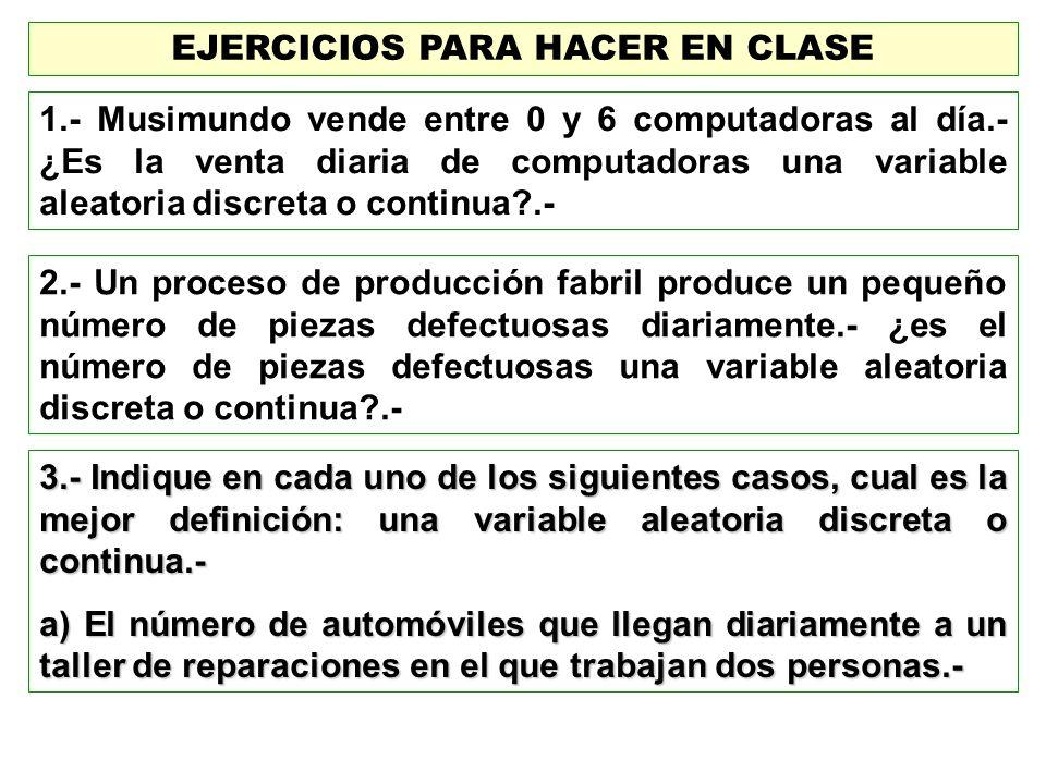 EJERCICIOS PARA HACER EN CLASE 1.- Musimundo vende entre 0 y 6 computadoras al día.- ¿Es la venta diaria de computadoras una variable aleatoria discre