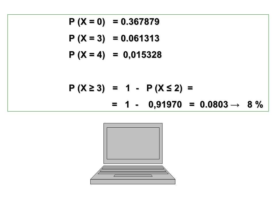 P (X = 0) = 0.367879 P (X = 0) = 0.367879 P (X = 3) = 0.061313 P (X = 3) = 0.061313 P (X = 4) = 0,015328 P (X = 4) = 0,015328 P (X 3) = 1 - P (X 2) =