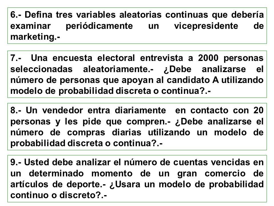 6.- Defina tres variables aleatorias continuas que debería examinar periódicamente un vicepresidente de marketing.- 7.- Una encuesta electoral entrevi