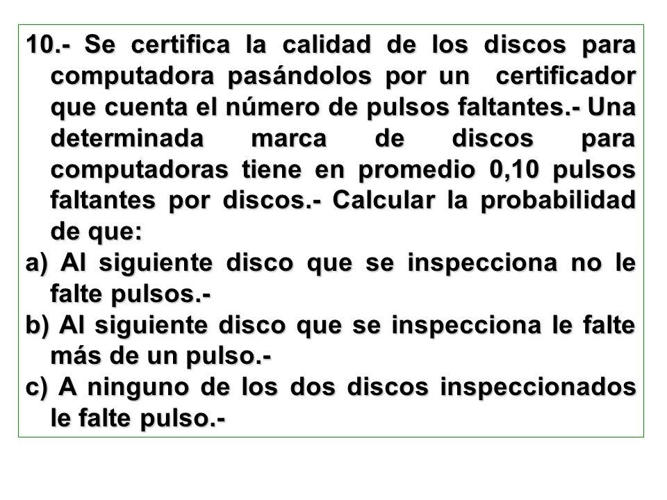 10.- Se certifica la calidad de los discos para computadora pasándolos por un certificador que cuenta el número de pulsos faltantes.- Una determinada