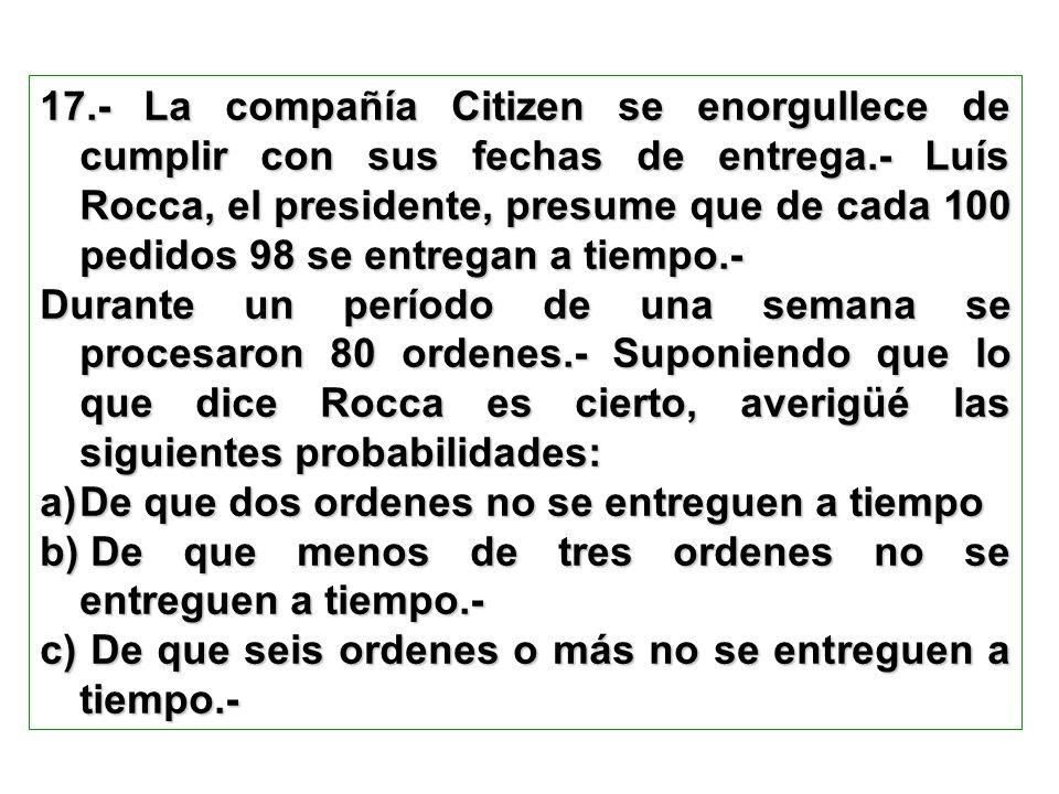 17.- La compañía Citizen se enorgullece de cumplir con sus fechas de entrega.- Luís Rocca, el presidente, presume que de cada 100 pedidos 98 se entreg