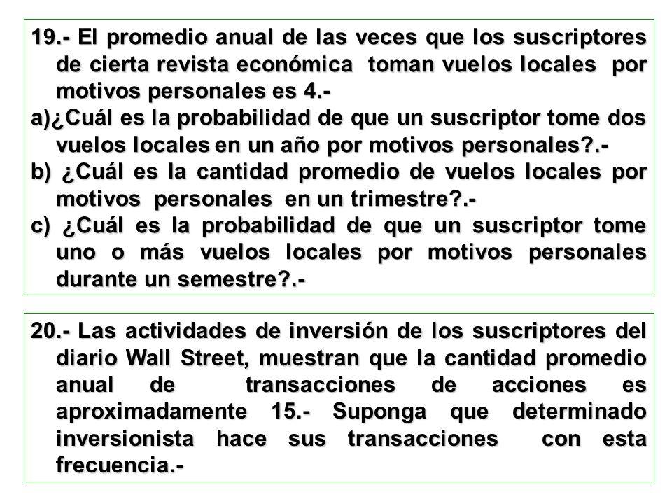 19.- El promedio anual de las veces que los suscriptores de cierta revista económica toman vuelos locales por motivos personales es 4.- a)¿Cuál es la