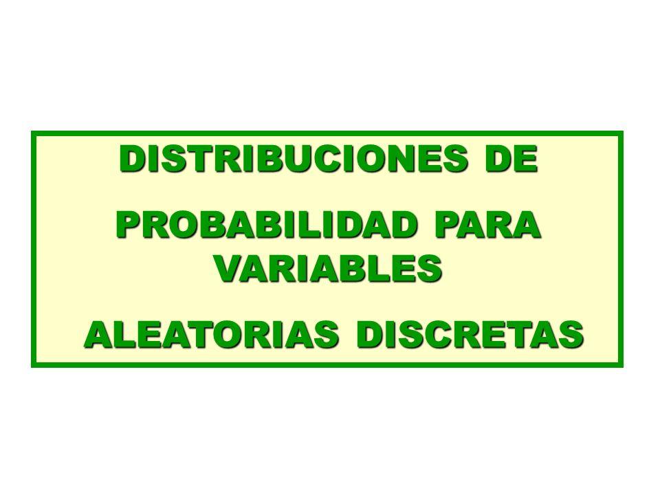 DISTRIBUCIONES DE PROBABILIDAD PARA VARIABLES ALEATORIAS DISCRETAS ALEATORIAS DISCRETAS