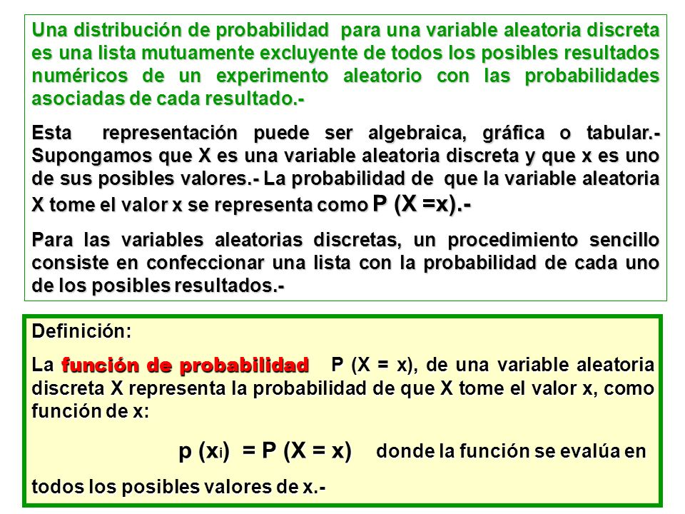 Una distribución de probabilidad para una variable aleatoria discreta es una lista mutuamente excluyente de todos los posibles resultados numéricos de