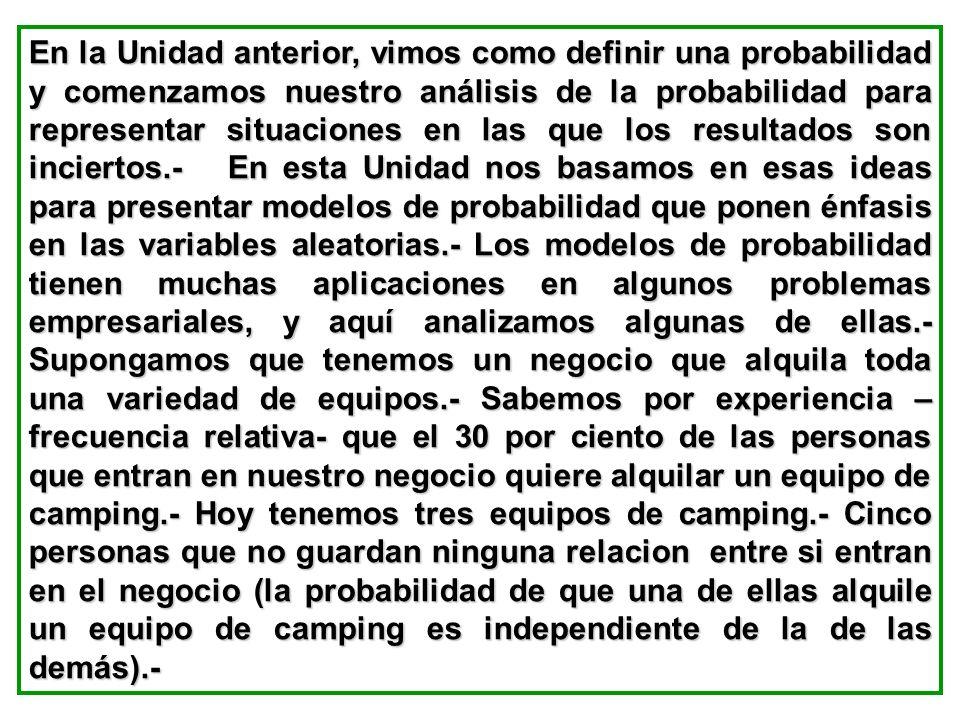 a)¿Cuál es la probabilidad de que dos o menos se den de baja?.- b) ¿Cuál es la probabilidad de que se den de baja exactamente cuatro?.- c) ¿Cuál es la probabilidad de que se den de baja más de tres?.- d) ¿Cuál es la cantidad esperada de deserciones?.- 19.- El 48% de las industrias manufactureras del país de tamaño mediano, planearon visitas de representantes de su administraciones a Brasil y Venezuela para aprovechar ciertas condiciones y oportunidades que daba el Tratado de Comercialización del Mercosur.- Un grupo exportador e importador de Brasil invitó a 20 manufactureras de Argentina medianas a participar en una conferencia con el fin investigar las oportunidades de negocios.-
