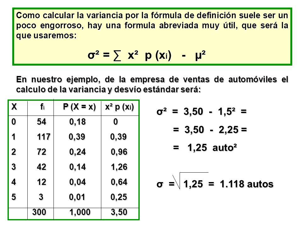 Como calcular la variancia por la fórmula de definición suele ser un poco engorroso, hay una formula abreviada muy útil, que será la que usaremos: σ²