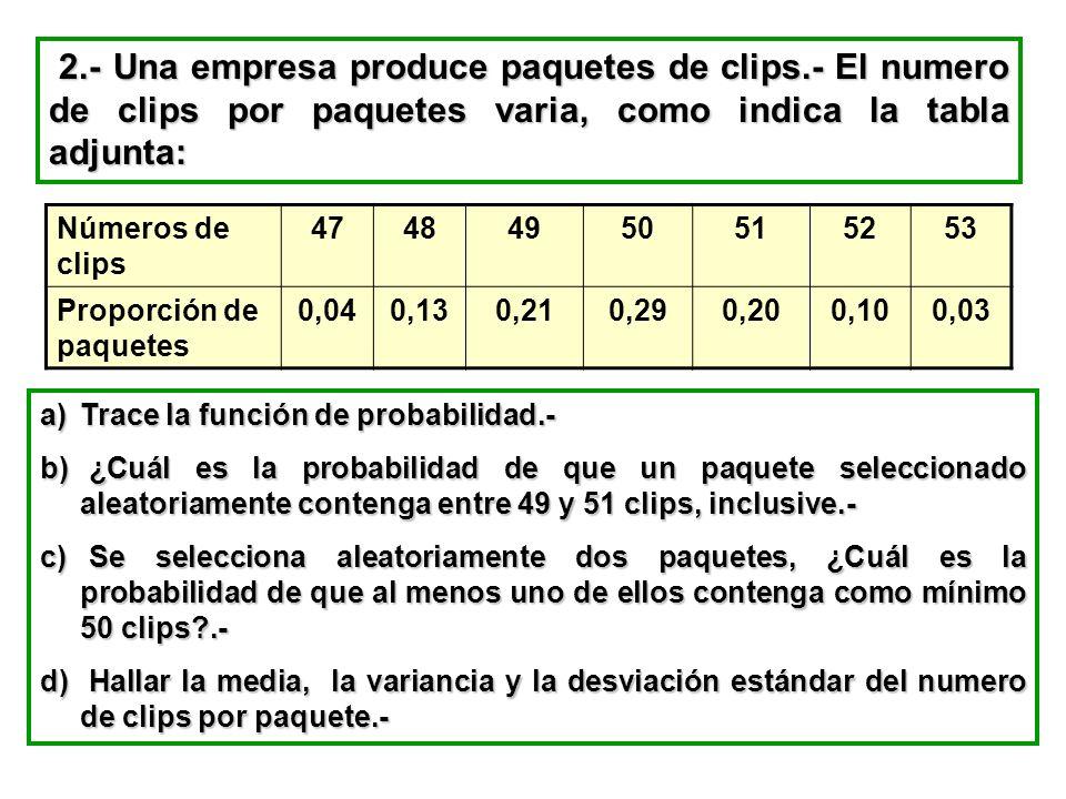 2.- Una empresa produce paquetes de clips.- El numero de clips por paquetes varia, como indica la tabla adjunta: 2.- Una empresa produce paquetes de c