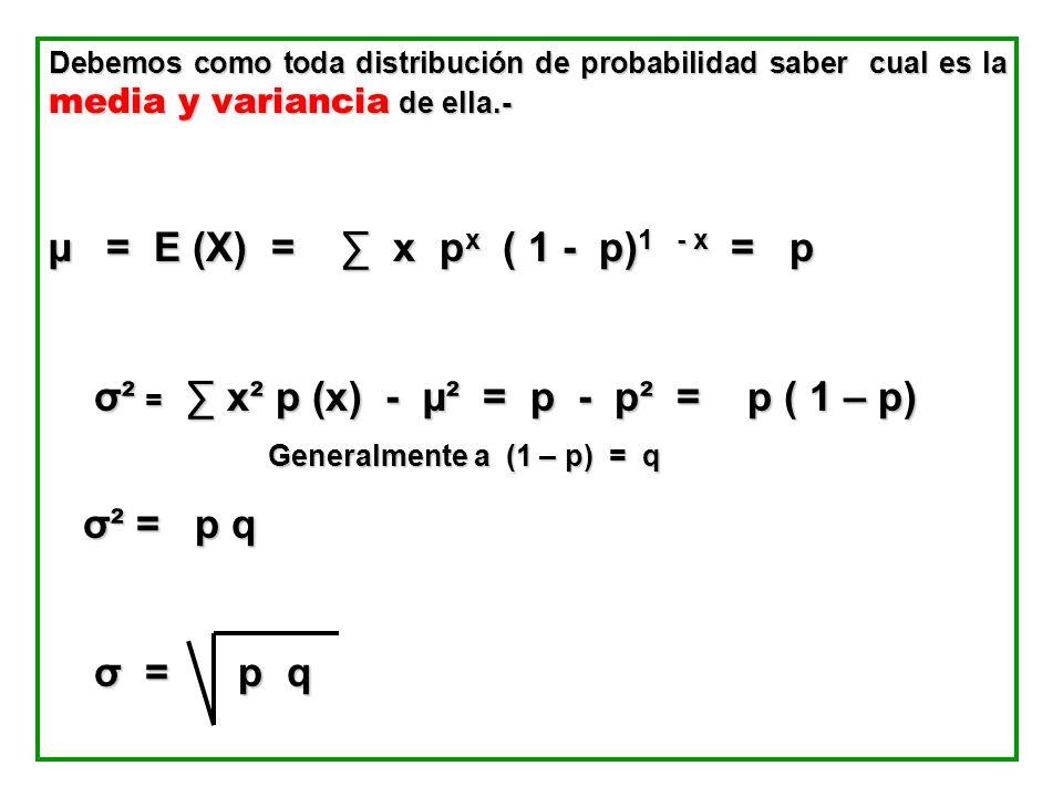 Debemos como toda distribución de probabilidad saber cual es la media y variancia de ella.- µ = E (X) = x p x ( 1 - p) 1 - x = p σ² = x² p (x) - µ² =
