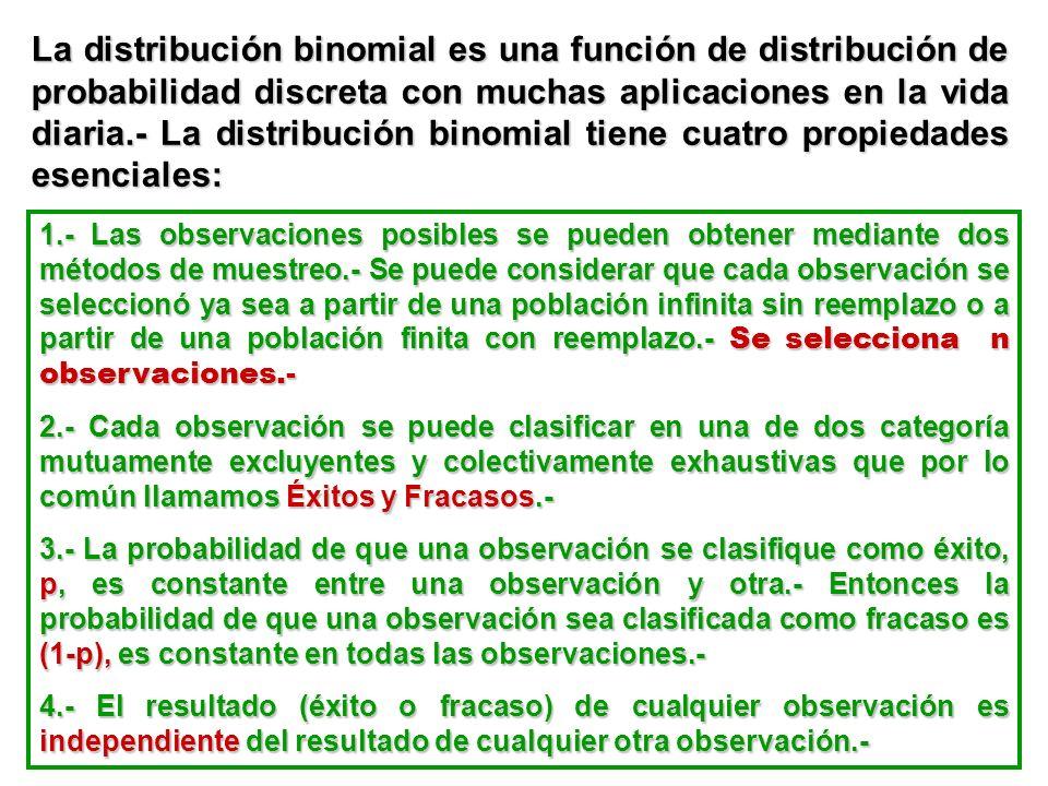 La distribución binomial es una función de distribución de probabilidad discreta con muchas aplicaciones en la vida diaria.- La distribución binomial