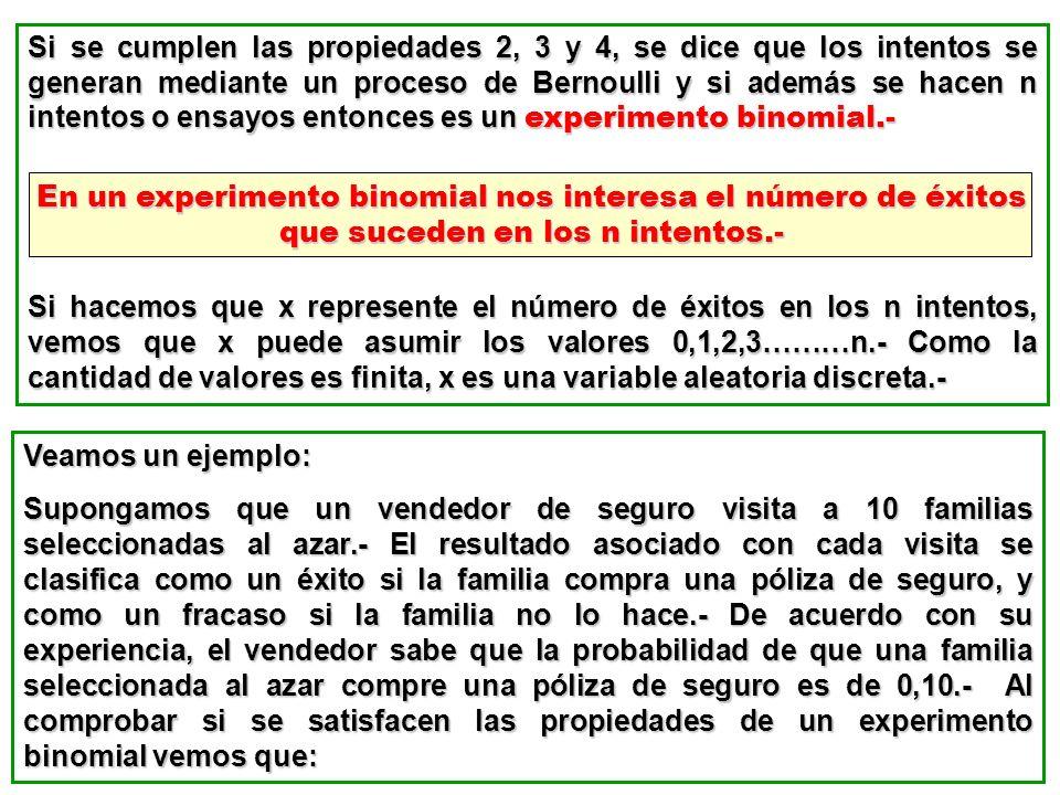 Si se cumplen las propiedades 2, 3 y 4, se dice que los intentos se generan mediante un proceso de Bernoulli y si además se hacen n intentos o ensayos