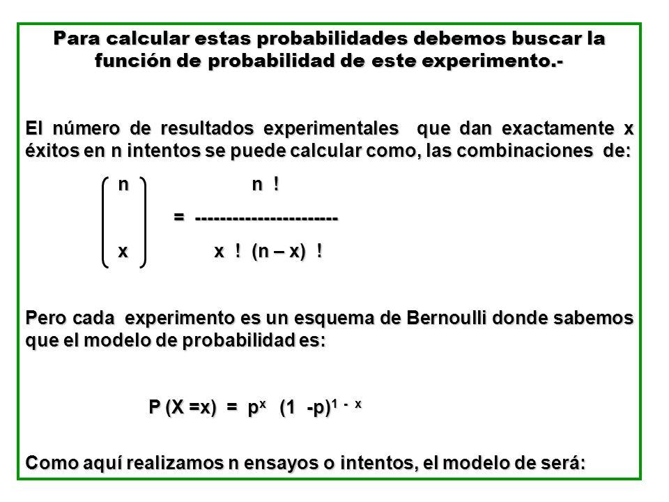 Para calcular estas probabilidades debemos buscar la función de probabilidad de este experimento.- El número de resultados experimentales que dan exac