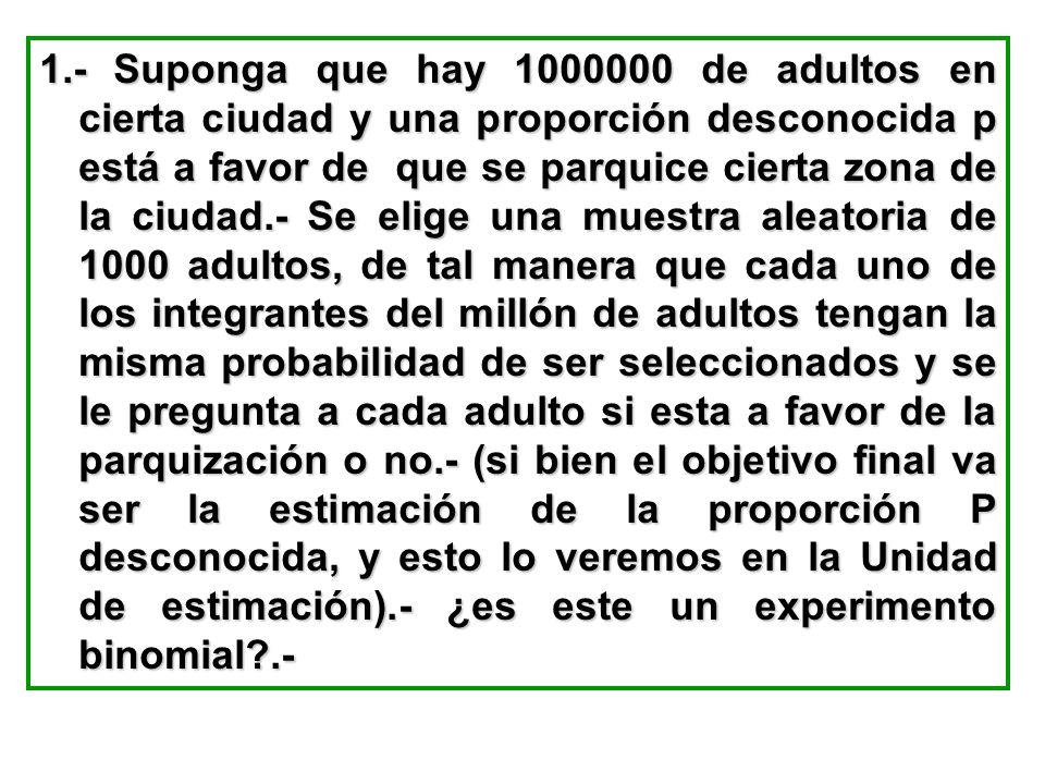 1.- Suponga que hay 1000000 de adultos en cierta ciudad y una proporción desconocida p está a favor de que se parquice cierta zona de la ciudad.- Se e