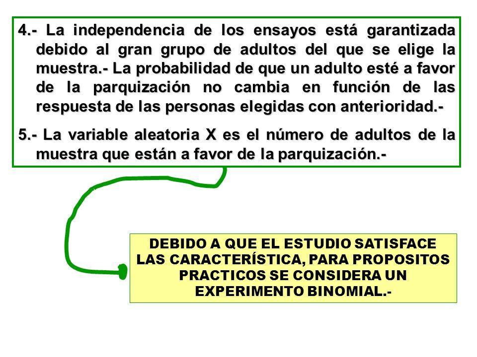 4.- La independencia de los ensayos está garantizada debido al gran grupo de adultos del que se elige la muestra.- La probabilidad de que un adulto es