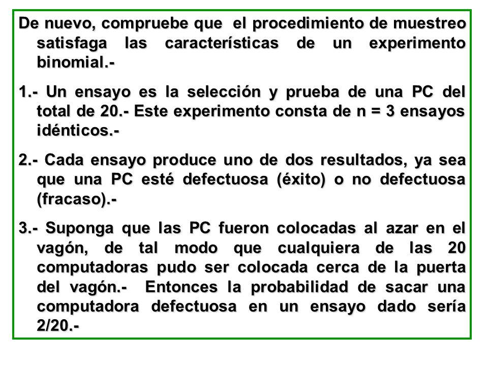 De nuevo, compruebe que el procedimiento de muestreo satisfaga las características de un experimento binomial.- 1.- Un ensayo es la selección y prueba