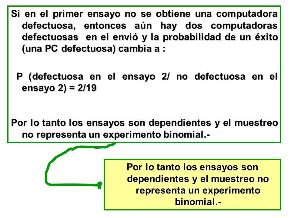 Si en el primer ensayo no se obtiene una computadora defectuosa, entonces aún hay dos computadoras defectuosas en el envió y la probabilidad de un éxi
