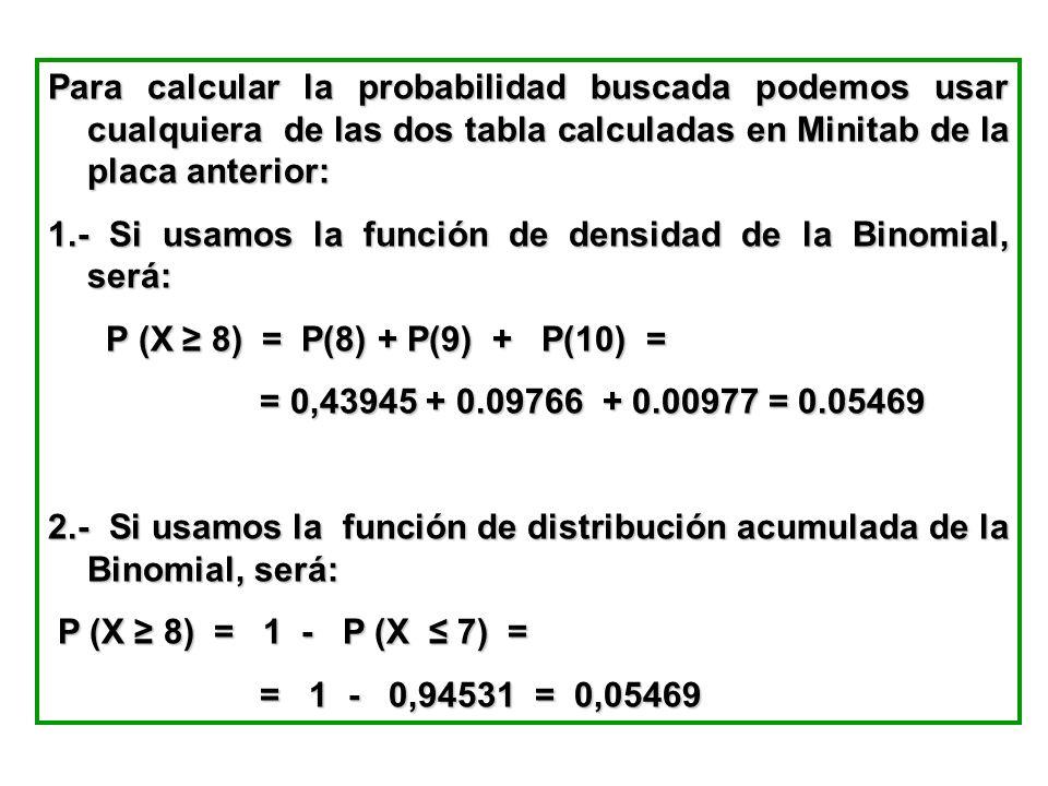 Para calcular la probabilidad buscada podemos usar cualquiera de las dos tabla calculadas en Minitab de la placa anterior: 1.- Si usamos la función de