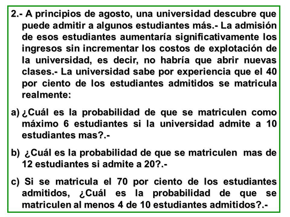 2.- A principios de agosto, una universidad descubre que puede admitir a algunos estudiantes más.- La admisión de esos estudiantes aumentaría signific