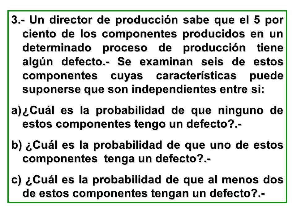 3.- Un director de producción sabe que el 5 por ciento de los componentes producidos en un determinado proceso de producción tiene algún defecto.- Se