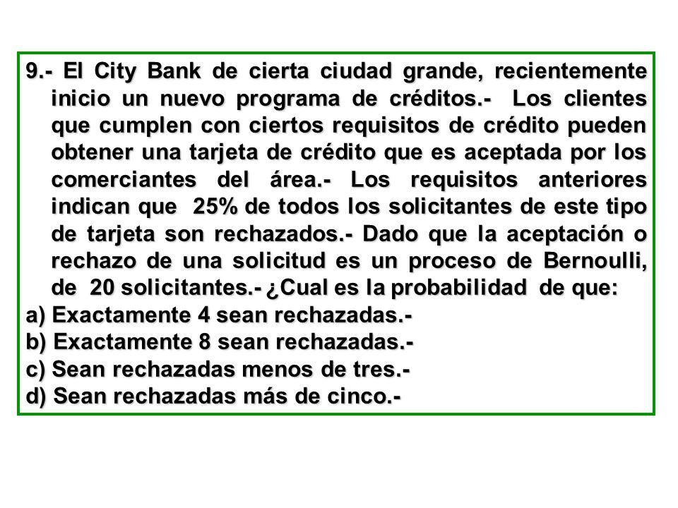 9.- El City Bank de cierta ciudad grande, recientemente inicio un nuevo programa de créditos.- Los clientes que cumplen con ciertos requisitos de créd
