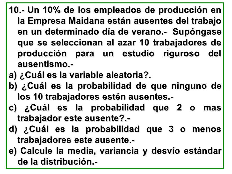 10.- Un 10% de los empleados de producción en la Empresa Maidana están ausentes del trabajo en un determinado día de verano.- Supóngase que se selecci