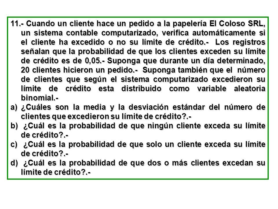 11.- Cuando un cliente hace un pedido a la papelería El Coloso SRL, un sistema contable computarizado, verifica automáticamente si el cliente ha exced