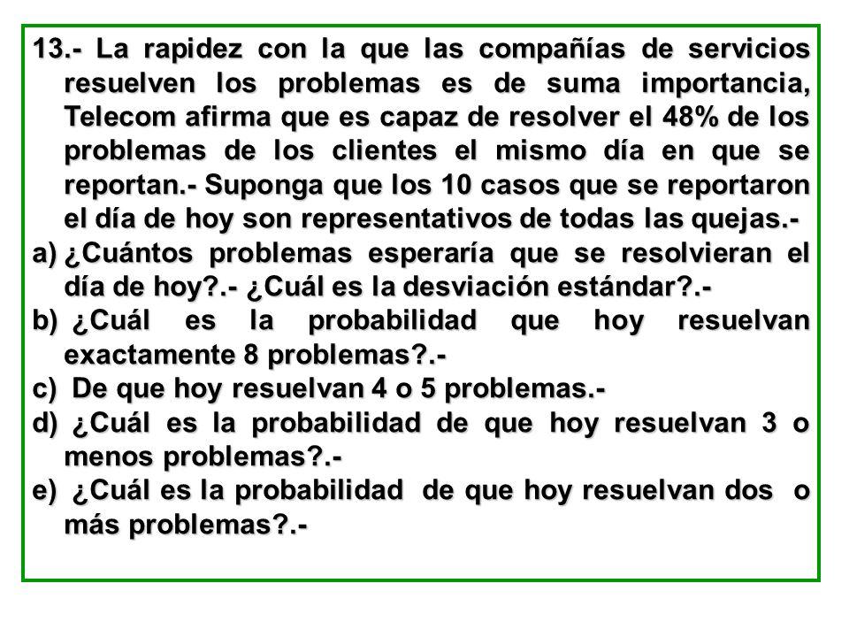 13.- La rapidez con la que las compañías de servicios resuelven los problemas es de suma importancia, Telecom afirma que es capaz de resolver el 48% d