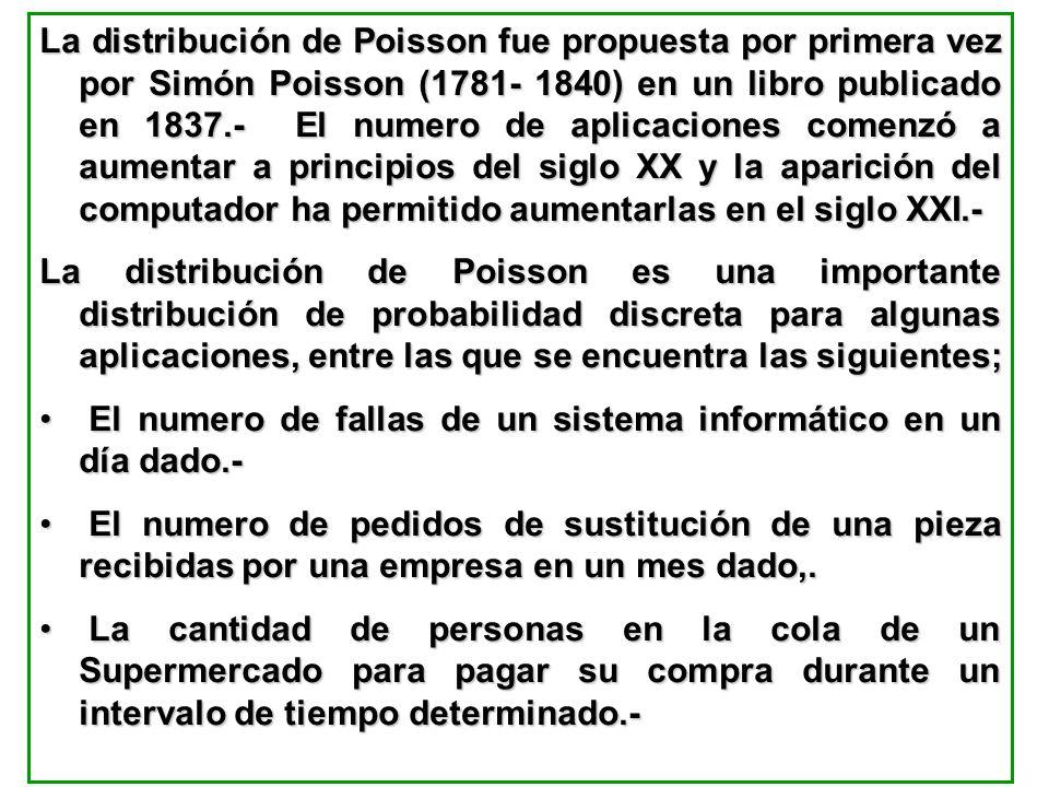 La distribución de Poisson fue propuesta por primera vez por Simón Poisson (1781- 1840) en un libro publicado en 1837.- El numero de aplicaciones come