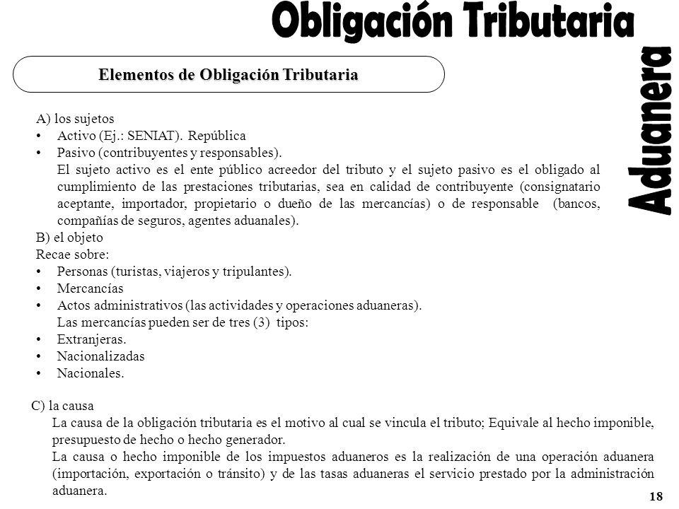 La obligación tributaria es el deber que tiene un sujeto (deudor) de pagar a otro sujeto (acreedor) un tributo en la cantidad y forma establecida por