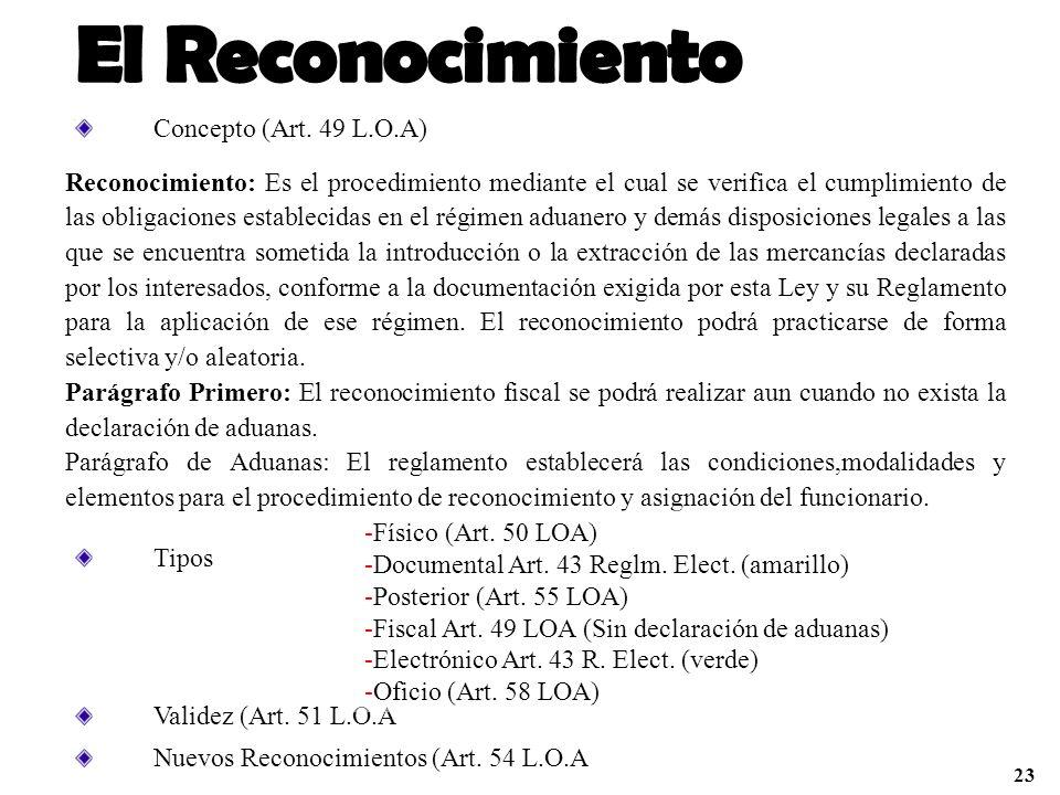 Concepto (Art. 49 L.O.A) Reconocimiento: Es el procedimiento mediante el cual se verifica el cumplimiento de las obligaciones establecidas en el régim