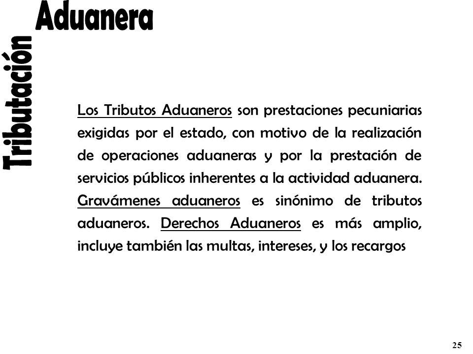 Los Tributos Aduaneros son prestaciones pecuniarias exigidas por el estado, con motivo de la realización de operaciones aduaneras y por la prestación