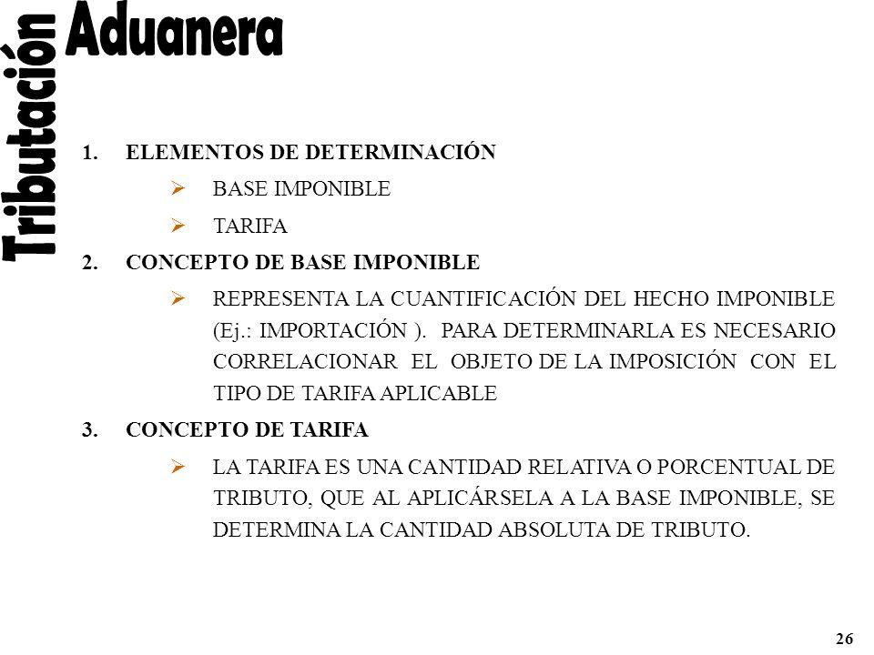 1.ELEMENTOS DE DETERMINACIÓN BASE IMPONIBLE TARIFA 2.CONCEPTO DE BASE IMPONIBLE REPRESENTA LA CUANTIFICACIÓN DEL HECHO IMPONIBLE (Ej.: IMPORTACIÓN ).