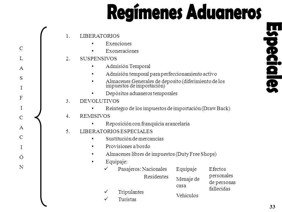 CLASIFICACIÓNCLASIFICACIÓN 1.LIBERATORIOS Exenciones Exoneraciones 2.SUSPENSIVOS Admisión Temporal Admisión temporal para perfeccionamiento activo Alm