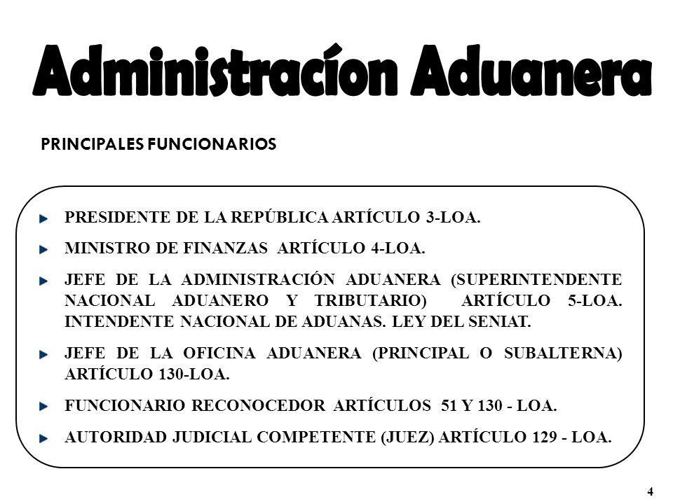 PRINCIPALES FUNCIONARIOS PRESIDENTE DE LA REPÚBLICA ARTÍCULO 3-LOA. MINISTRO DE FINANZAS ARTÍCULO 4-LOA. JEFE DE LA ADMINISTRACIÓN ADUANERA (SUPERINTE