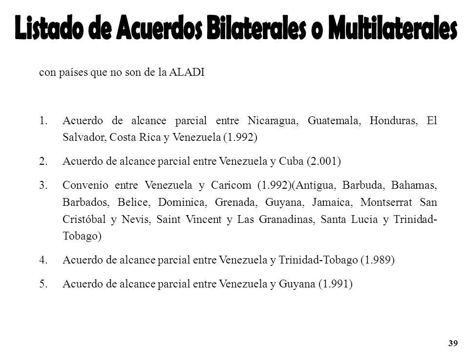con países que no son de la ALADI 1.Acuerdo de alcance parcial entre Nicaragua, Guatemala, Honduras, El Salvador, Costa Rica y Venezuela (1.992) 2.Acu