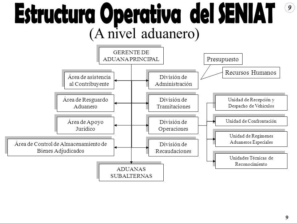 9 GERENTE DE ADUANA PRINCIPAL ADUANAS SUBALTERNAS División de Administración Área de asistencia al Contribuyente División de Tramitaciones Área de Res