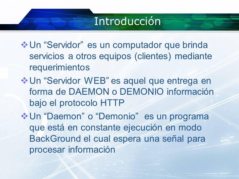 Introducción Un Servidor es un computador que brinda servicios a otros equipos (clientes) mediante requerimientos Un Servidor WEB es aquel que entrega