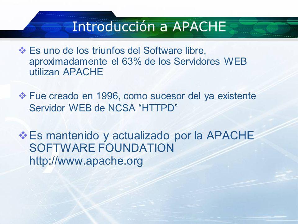 Introducción a APACHE Es uno de los triunfos del Software libre, aproximadamente el 63% de los Servidores WEB utilizan APACHE Fue creado en 1996, como