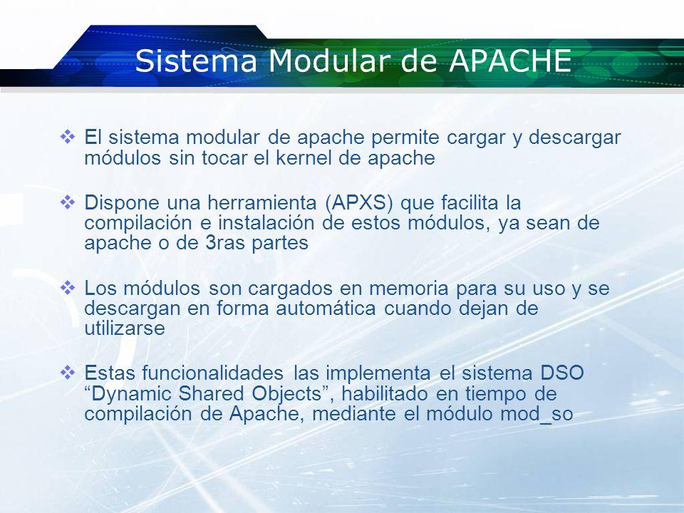Ventajas del sistema modular No es necesario compilar el kernel de Apache con módulos que quizás no utilicemos nunca Al momento de requerirlos se compilan individualmente y se activan con parámetros sencillos sin tocar el Kernel Menos gasto de recursos y más agilidad Capacidad de adecuarse a módulos externos y determinados para algunas aplicaciones Actualizaciones seguras y rápidas