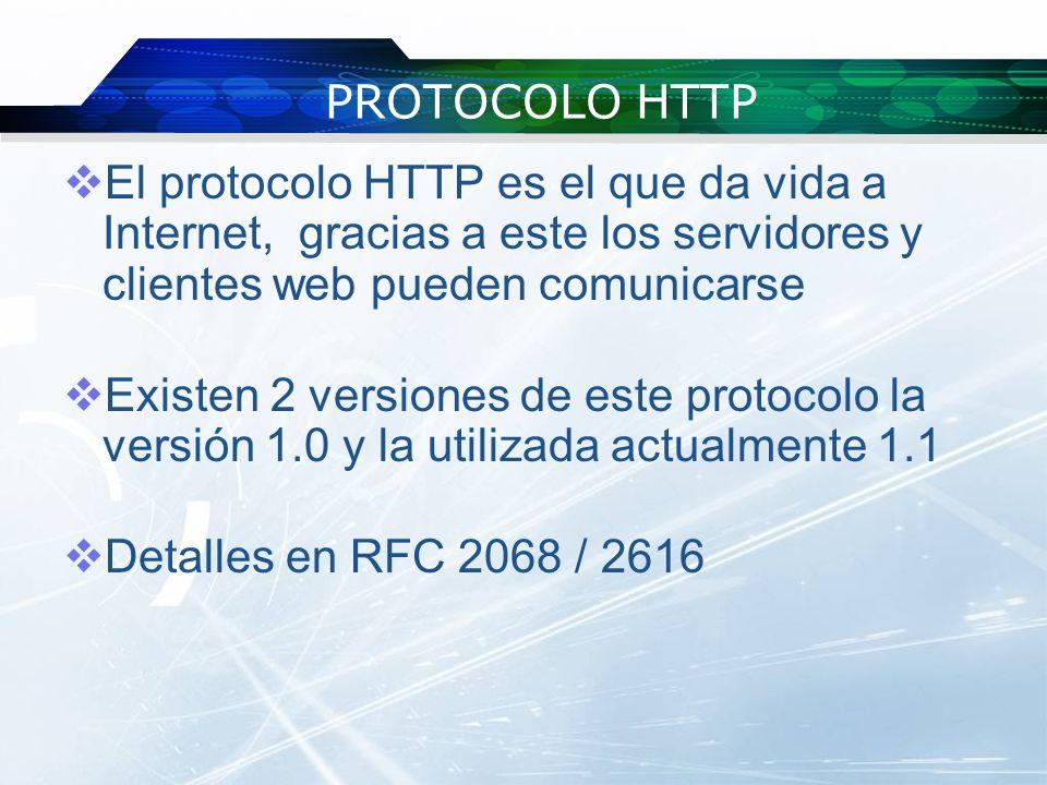 PROTOCOLO HTTP El protocolo HTTP es el que da vida a Internet, gracias a este los servidores y clientes web pueden comunicarse Existen 2 versiones de