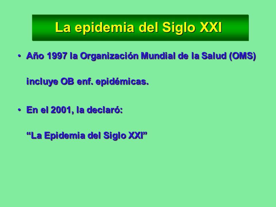 La epidemia del Siglo XXI Año 1997 la Organización Mundial de la Salud (OMS) incluye OB enf. epidémicas.Año 1997 la Organización Mundial de la Salud (