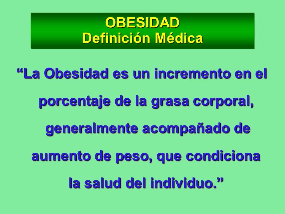 OBESIDAD Definición Médica La Obesidad es un incremento en el porcentaje de la grasa corporal, generalmente acompañado de aumento de peso, que condici