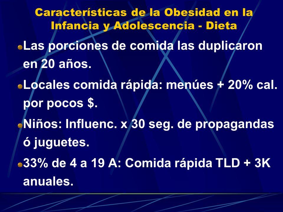 Características de la Obesidad en la Infancia y Adolescencia - Dieta Las porciones de comida las duplicaron en 20 años. Locales comida rápida: menúes