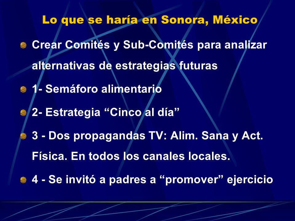 Lo que se haría en Sonora, México Crear Comités y Sub-Comités para analizar alternativas de estrategias futuras 1- Semáforo alimentario 2- Estrategia